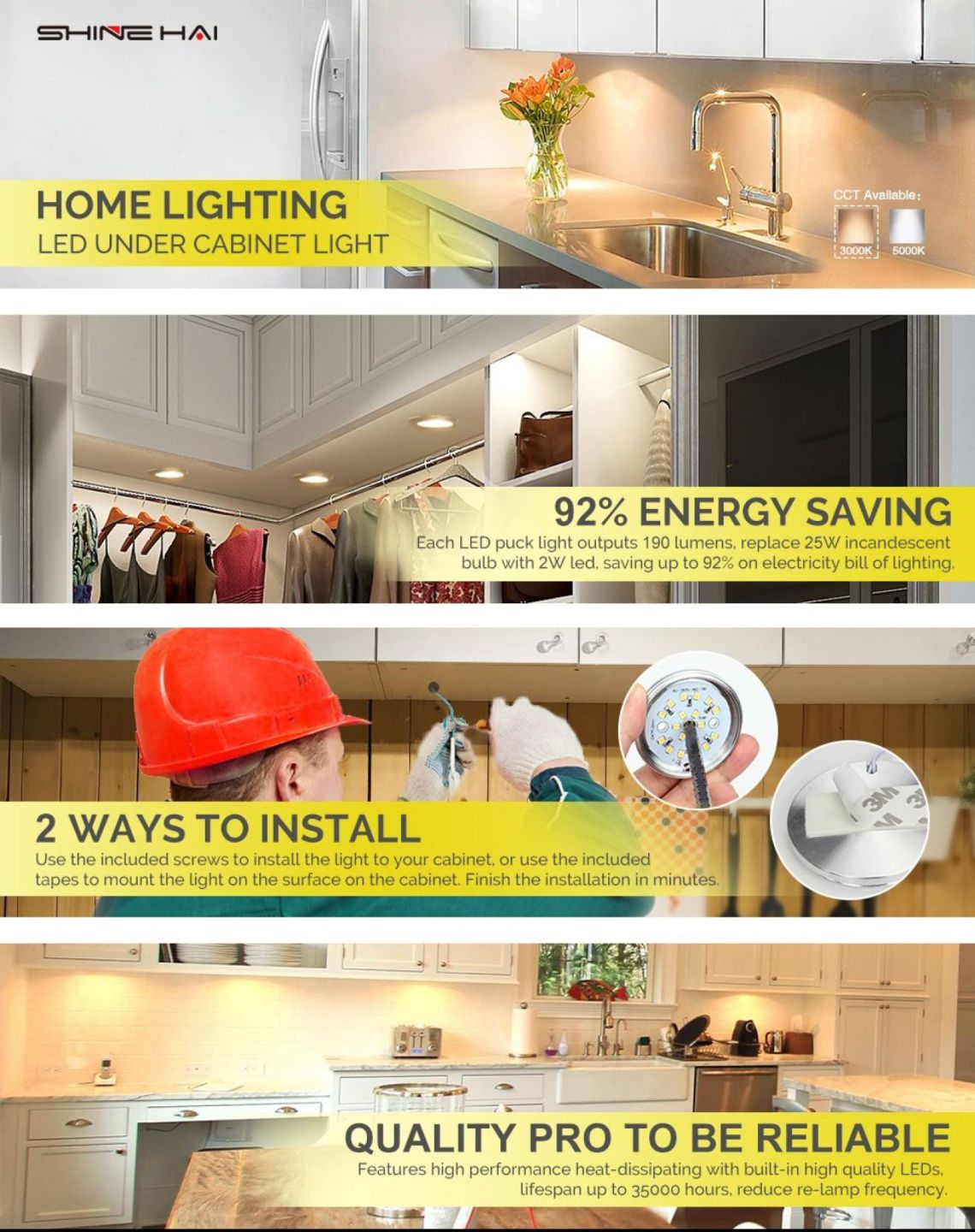 LED Under Cabinet Lighting Kit, SHINE HAI 1140 Lumens LED Puck Light, 3000K Warm White, All Accessories Included, Kitchen, Closet Lights, Set of 6 - - Amazon.com