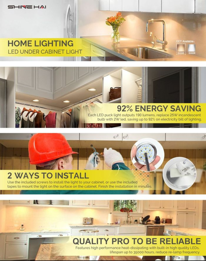 LED Under Cabinet Lighting Kit, SHINE HAI 1140 Lumens LED Puck Light, 3000K Warm White, All Accessories Included, Kitchen, Closet Lights, Set of 6 - - Amazon.com