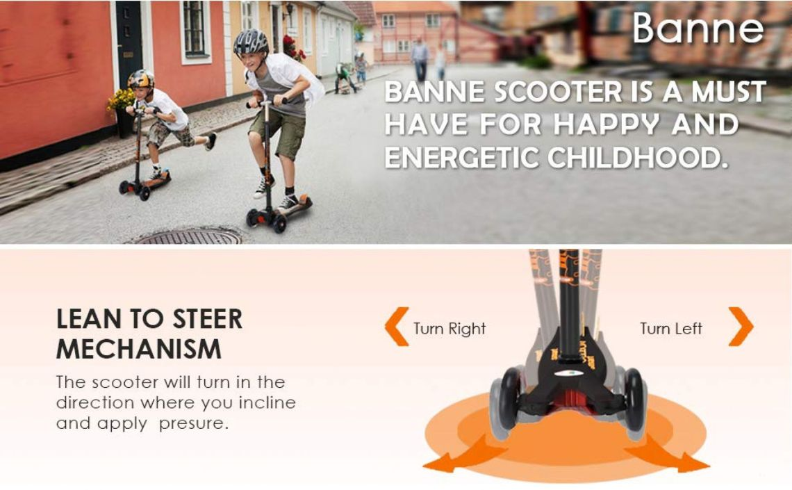 Amazon.com : Banne Scooter Height Adjustable Lean to Steer Flashing PU Wheels 3 Wheel Kick Scooters Kids Boys Girls (Black) : Sports & Outdoors