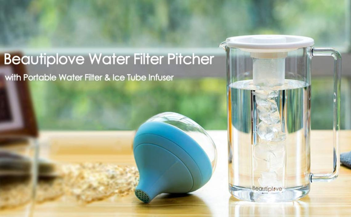 Amazon.com: Beautiplove Water Filter Pitcher with Portable Water Filter & Ice Tube Infuser: Kitchen & Dining