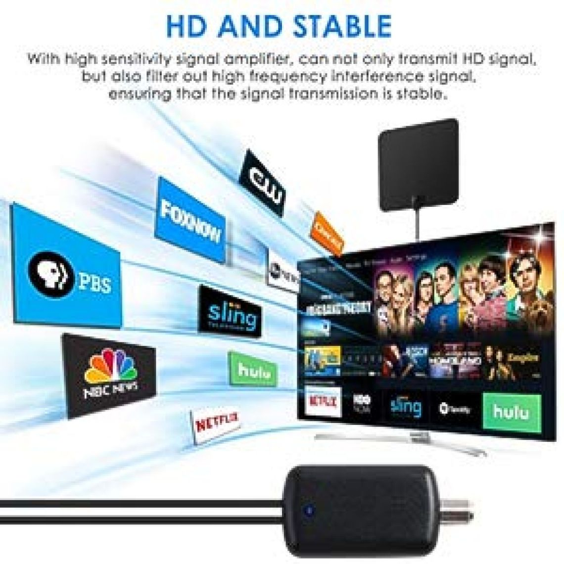 Amazon.com: 2018 Upgraded Version HDTV Antenna, HD Digital Indoor TV Antenna, 60-120 Miles Long Range with Amplifier Signal Booster for 1080P 4K Free TV Channels, Amplified 16ft Coax Cable: Electronics