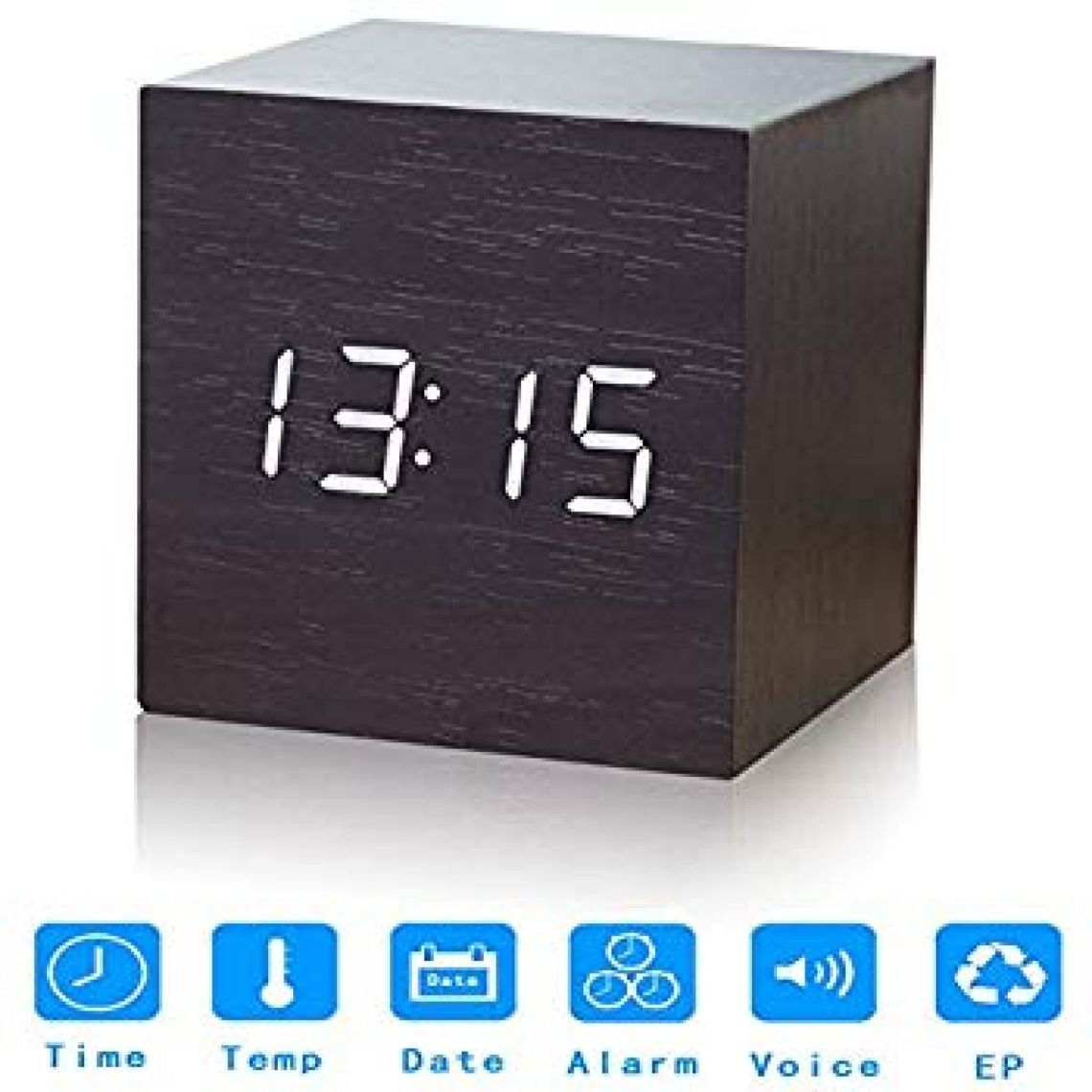Amazon.com: Nescope Digital Alarm Clock Digital Clock Cube Design Wooden Clock with 12/24Hr 3 Sets of Alarms Temperature Display: Home & Kitchen