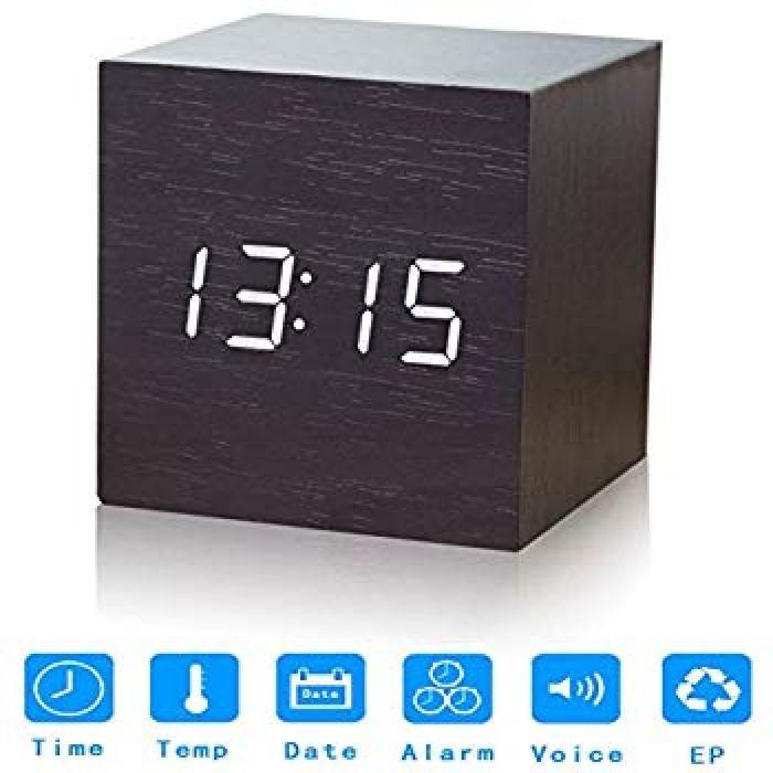 Amazon.com: Nescope Digital Alarm Clock Digital Clock Cube Design Wooden Clock with 12/24Hr 3 Sets of Alarms Temperature Display: Home & Kitchen
