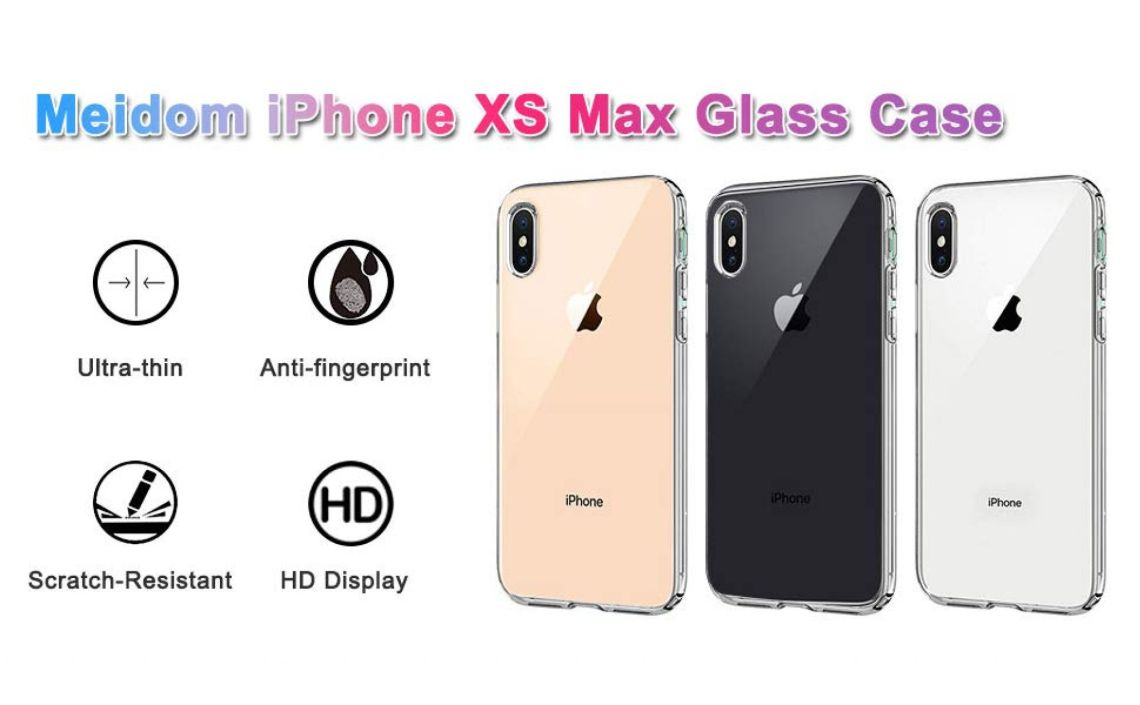 Amazon.com: Meidom iPhone Xs Max Case Crystal Clear Slim Fit with Silicone Bumper and Tempered Glass Back Double Protection Phone Case for iPhone Xs Max (6.5 inch) - Clear: Cell Phones & Accessories