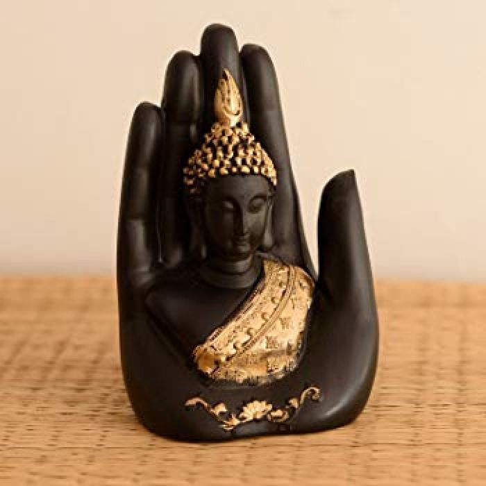 Buy eCraftIndia Polyester Idol Buddha Embossed in Palm (12.5 cm x 7.5 cm x 17.5 cm, Black and Gold) Online at Low Prices in India - Amazon.in