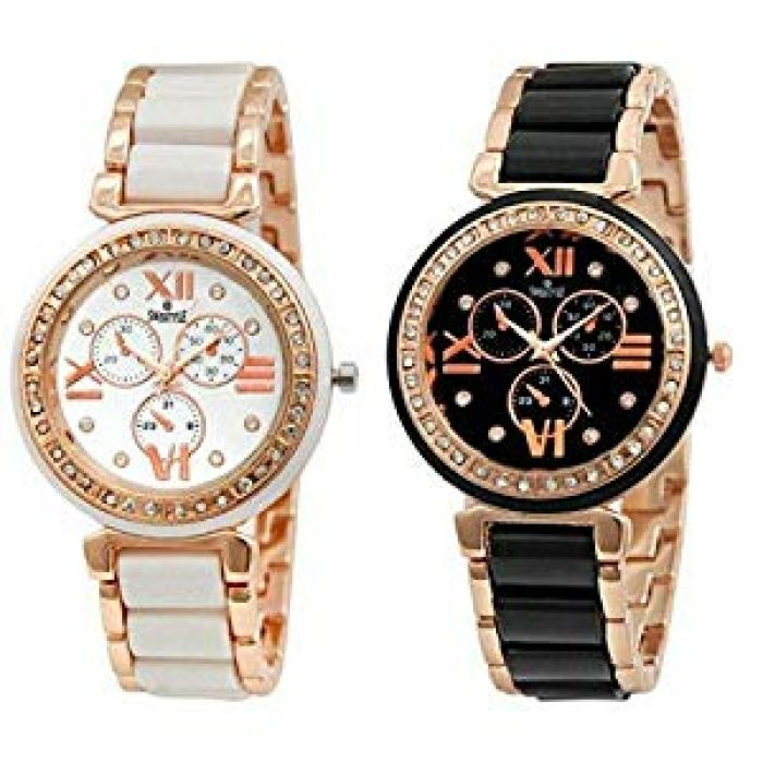 Buy Swisstyle Analogue White Dial & Black Dial Womens Watches (Ss-703W-703B)(Set of 2) Online at Low Prices in India - Amazon.in