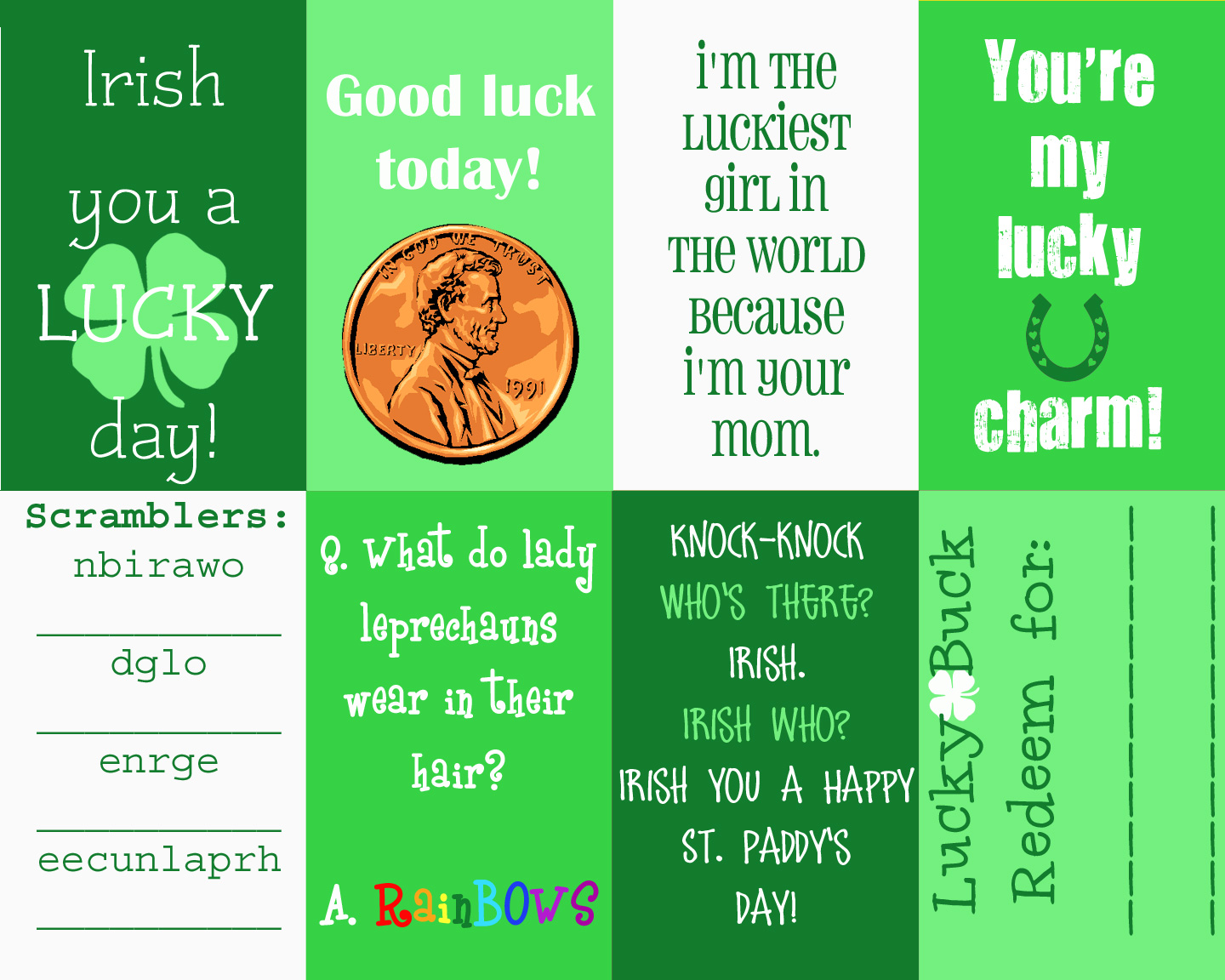 Free Printable St Patrick S Day Lunch Notes