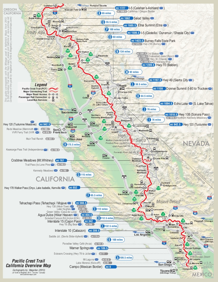 Map of first half of PCT | Dean\'s Pacific Crest Trail Hike