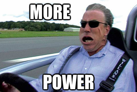 Jeremy Clarkson yelling more power