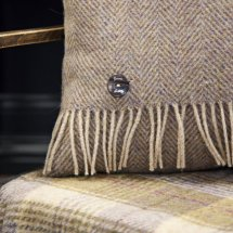 Herringbone cushion and throw for that country cottage fireside feeling.