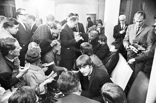 The Beatles at a press conference in Wellington, June 1964