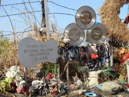 Makeshift memorial at the Buddy Holly crash site
