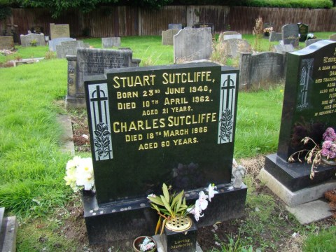 Former Beatle Stuart Sutcliffe—Huyton Parish Church (St. Michael), Merseyside.