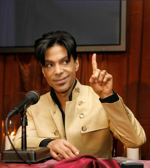 "Prince answers my question - ""One"" - after I asked him how many albums he would record under his new deal"