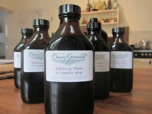 elderberry, thyme and liquorice cough linctus made by medical herbalist Deanne Greenwood, who practices in Falmouth, Helston, Penzance and The Lizard in Cornwall.