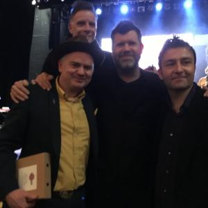 Dean Owens with Ricky Ross, Neilson Hubbard, Ben Glover, at American Music Association UK Awards in Hackney, London