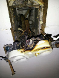 overheated electrical outlet