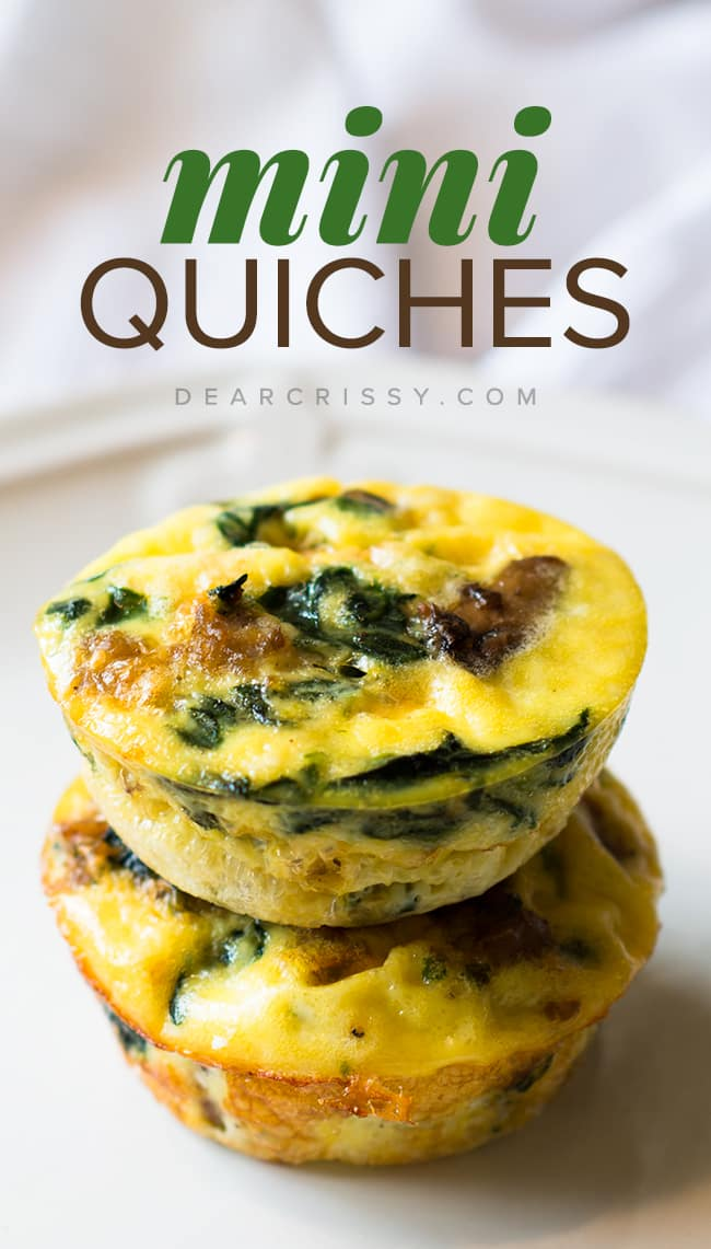Crustless Mini Sausage & Veggie Quiches - This crustless mini quiches recipe is savory and delicious. It's loaded with nutritious, better-for-you ingredients like turkey sausage, spinach, mushrooms and reduced fat cheese! Scrumptious, quick and easy.