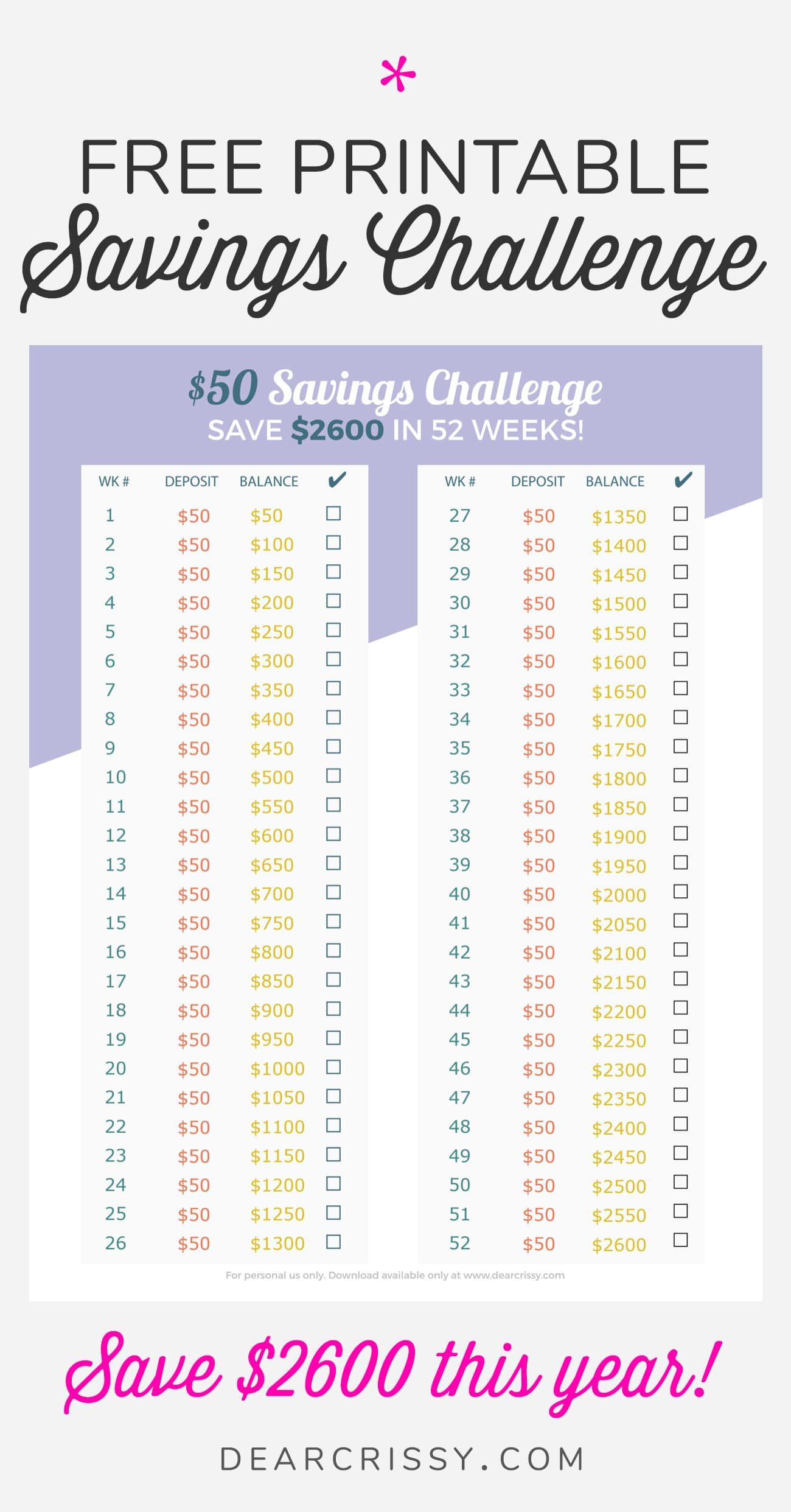 Free Printable 50 Savings Challenge Save 2 600 This Year Dear Crissy