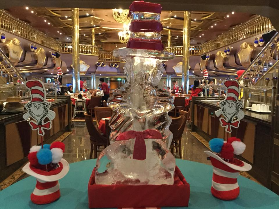 Cat in the Hat ice sculpture at Carnival Cruise Line's Green Eggs and Ham Breakfast