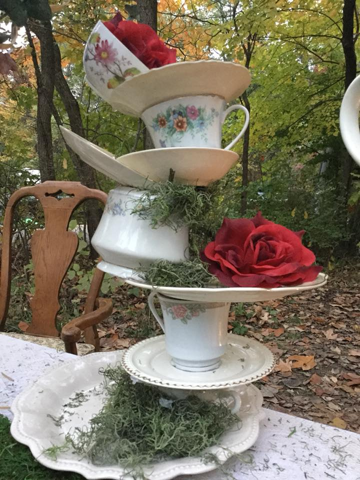 Whimsically stacked tea cups