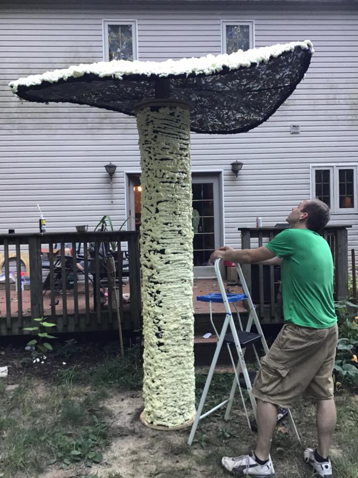 10 ft tall mushroom created out of 2x4, spray foam, chicken wire