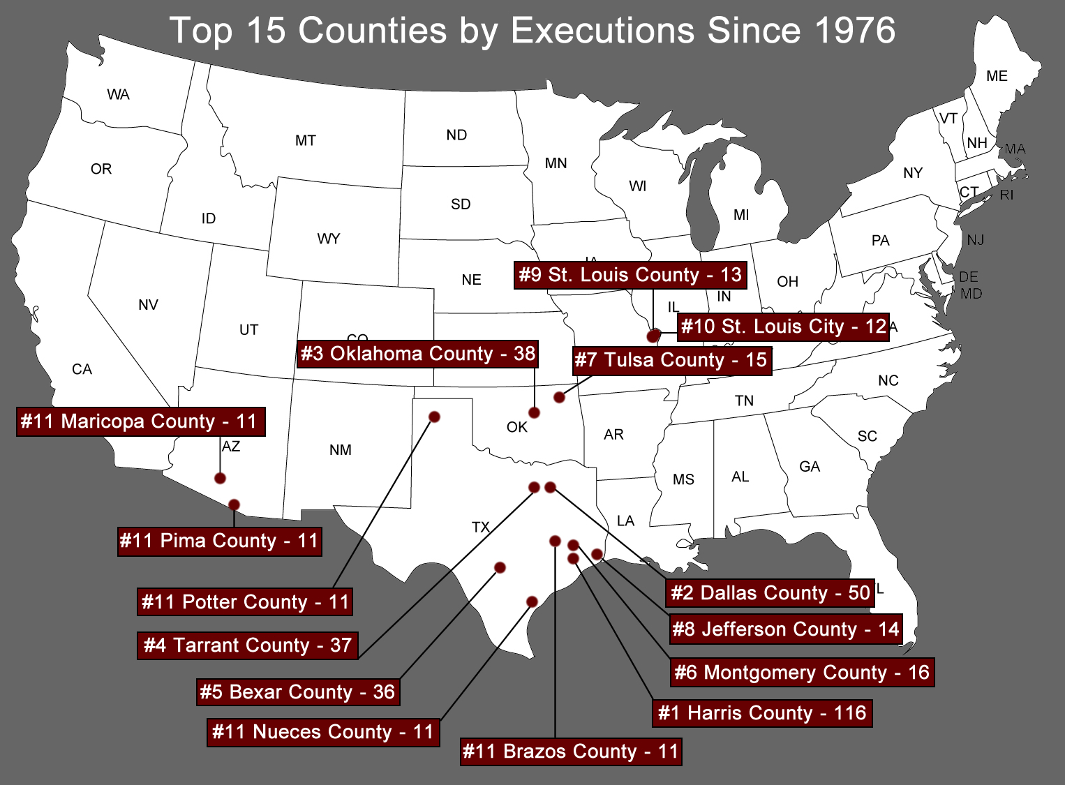 Executions By County Map