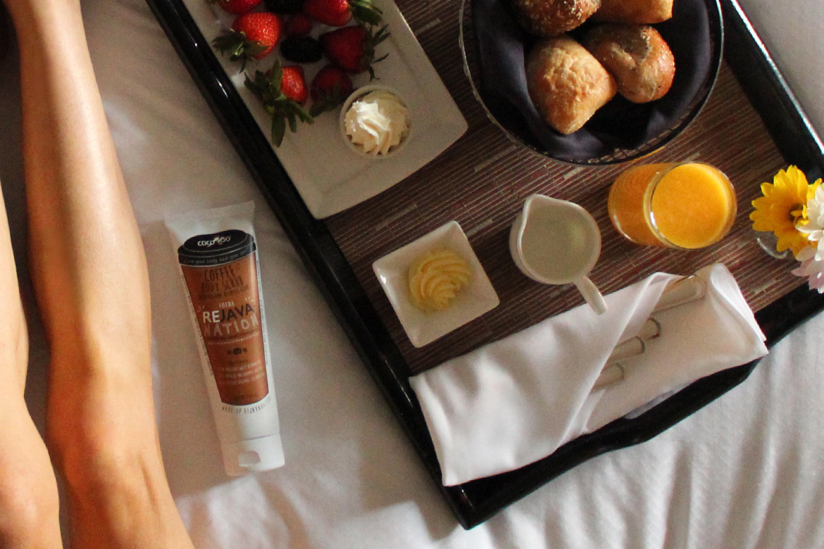 Travel Spa Day with an Organic Coffee Exfoliator and Breakfast in Bed