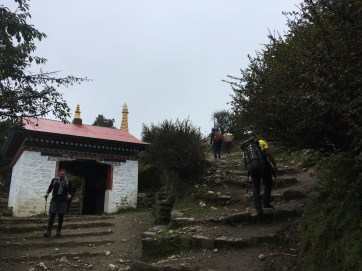After climbing up this last lag of stairs, we arrived Tengboche