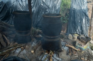 Rice wine cooked by the people in the village where we passed by