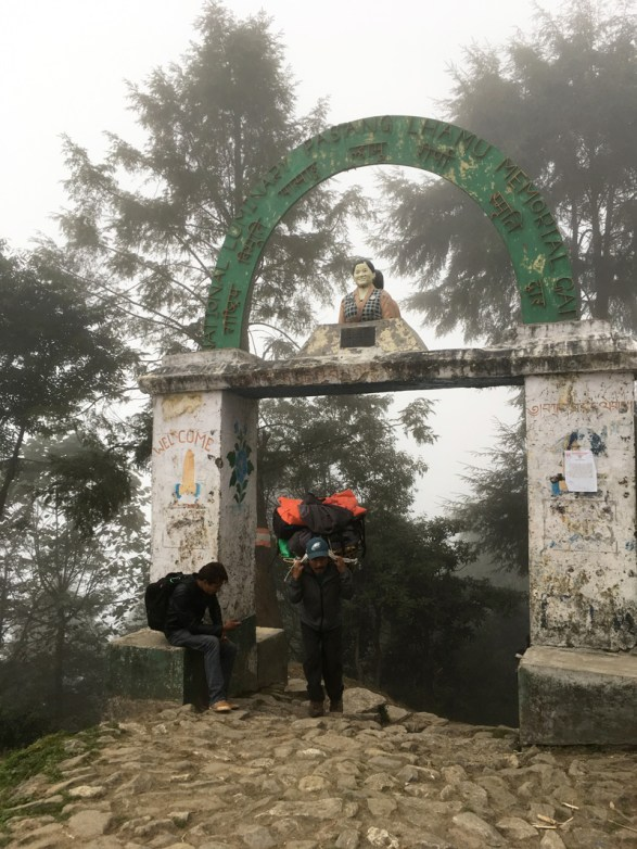 Entrance of Lukla passing the statue