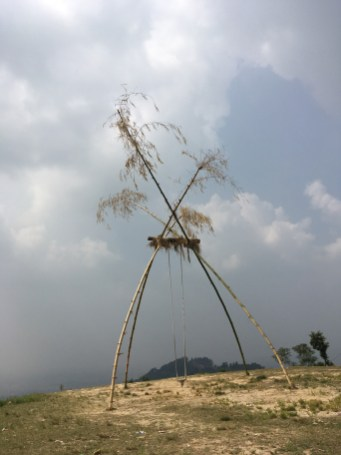 """Oct 10 to 19 is the most important Nepali festival - Dashain. Large swings """"Linge ping"""" are set up for in the villages"""