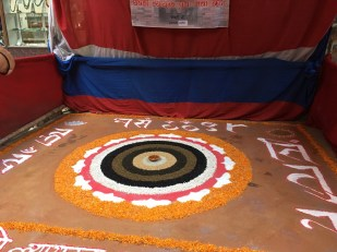 The rangoli is beautifully finished after few hours of hard work.