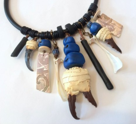 Debbie-Crothers-Polymer-Clay-Artist-Instructor-Necklace-Crab-Claw-Statement-Organic-Unique