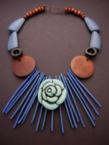 Debbie-Crothers-Teal-Flowers-Polymer-Clay-Statement-Necklace-Wooden-Beads-Recycled-Beads