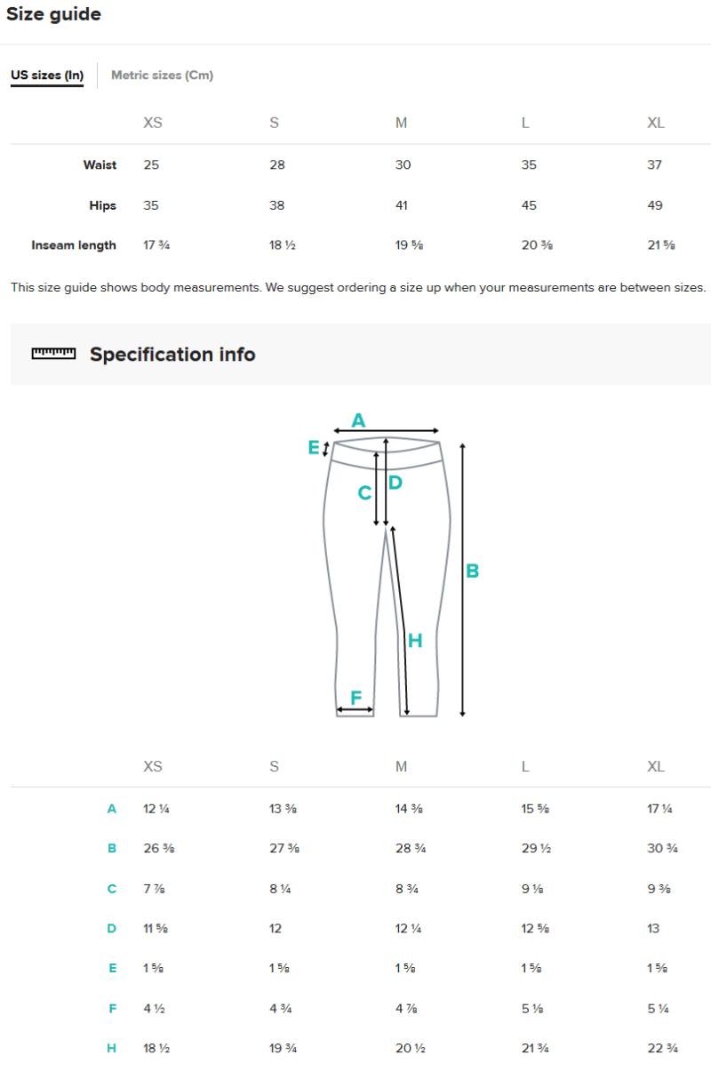 Capris Size Guide