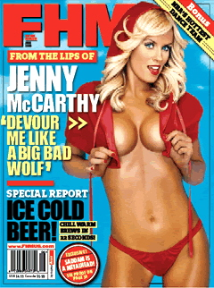 Magazine cover with scantily clad image of Jenny McCarthy