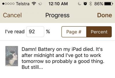 Naturally I took the time to update my reading status on my phone before trying to sleep!