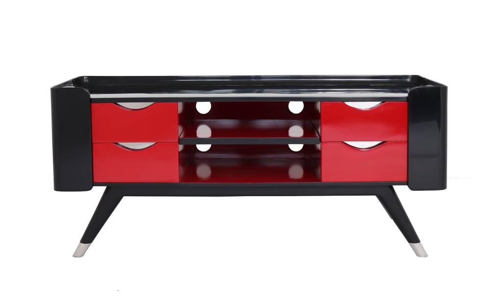 meuble tv shanghai noir et rouge