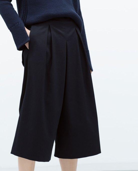 falda pantalón culot zara detalle