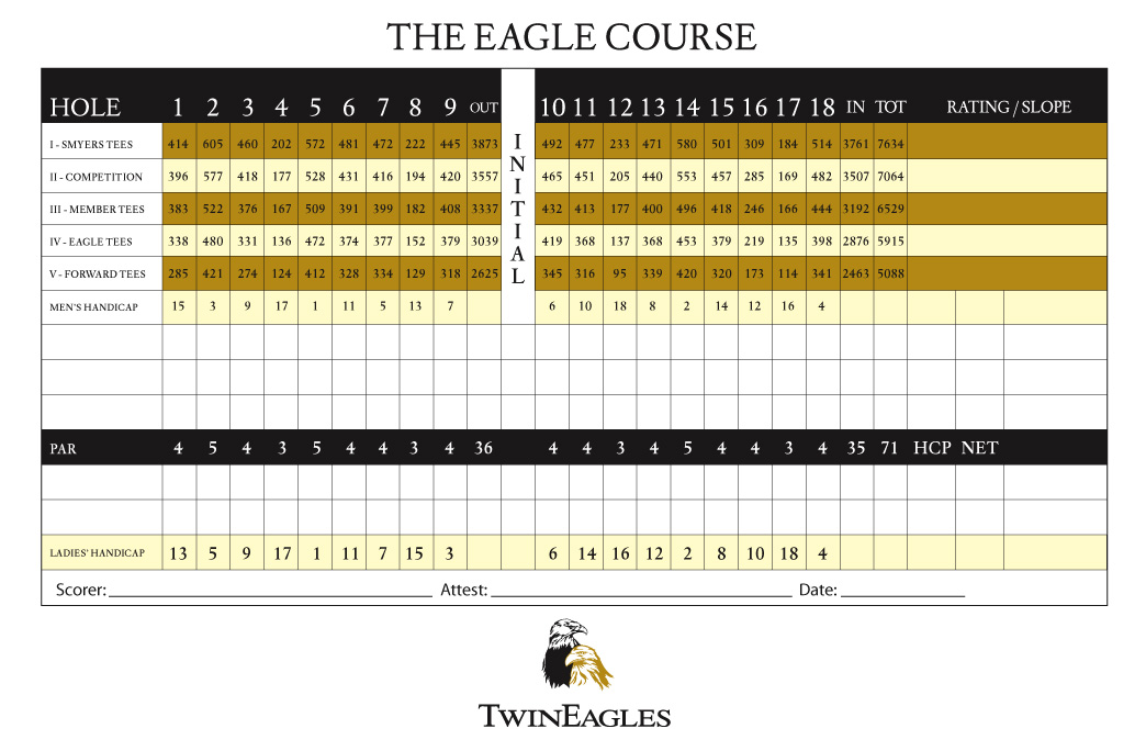 Twin Eagles Eagle Course Scorecard