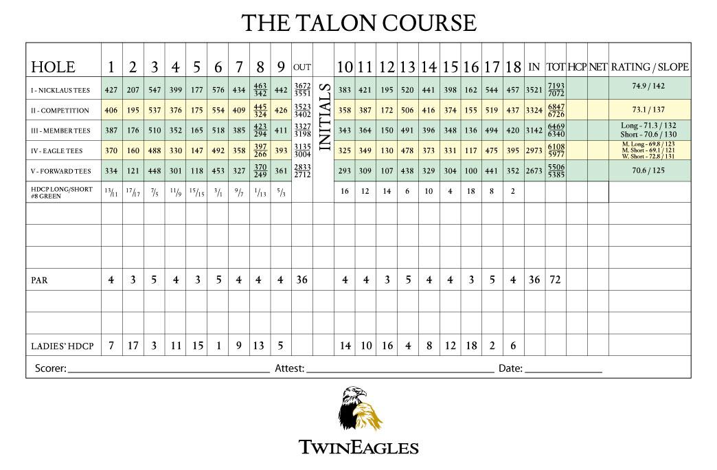Twin Eagles Talon Course Scorecard