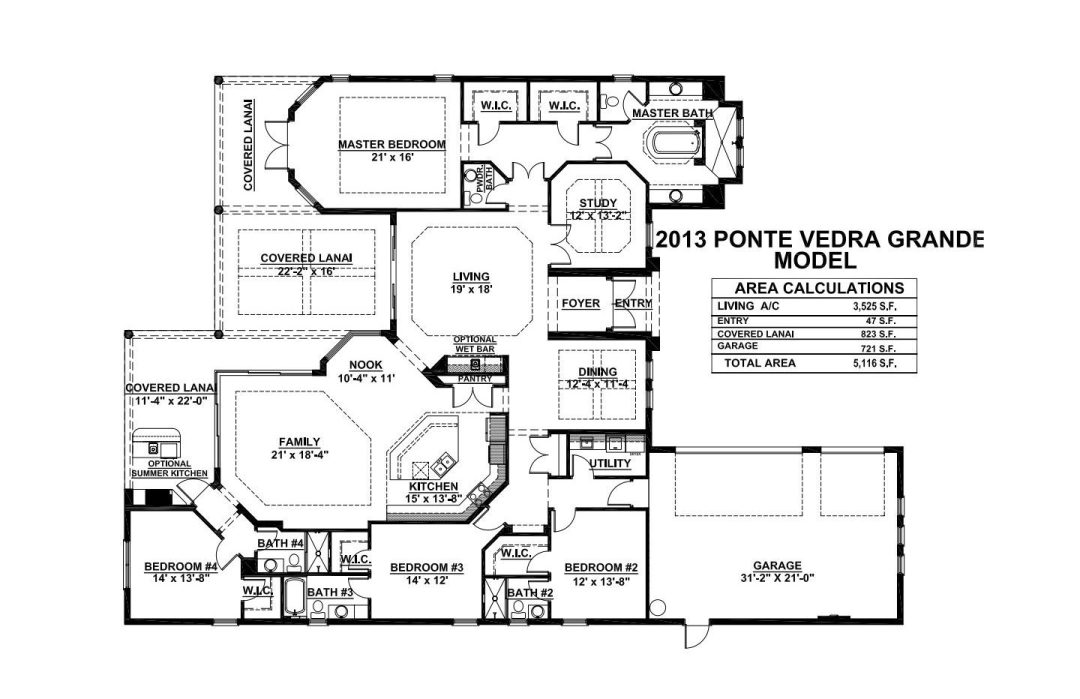 Stock Signature Homes Twin Eagles Ponte Vedra Grande Floor Plan
