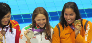 Olympic podium women swimming