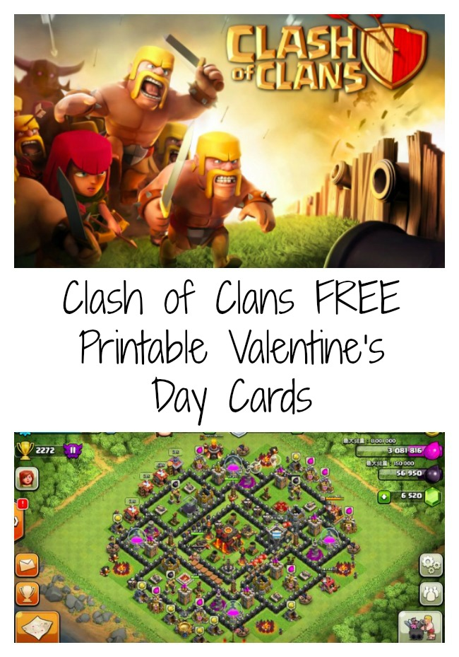 """free printable """"clash of clans"""" valentine's day cards"""