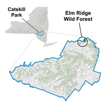 NYS Map showing the location of Elm Ridge at the northern edge of the Catskills