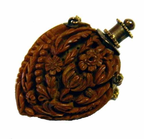 Antique Hand Carved Peach Pit Vinaigrette Scent Bottle