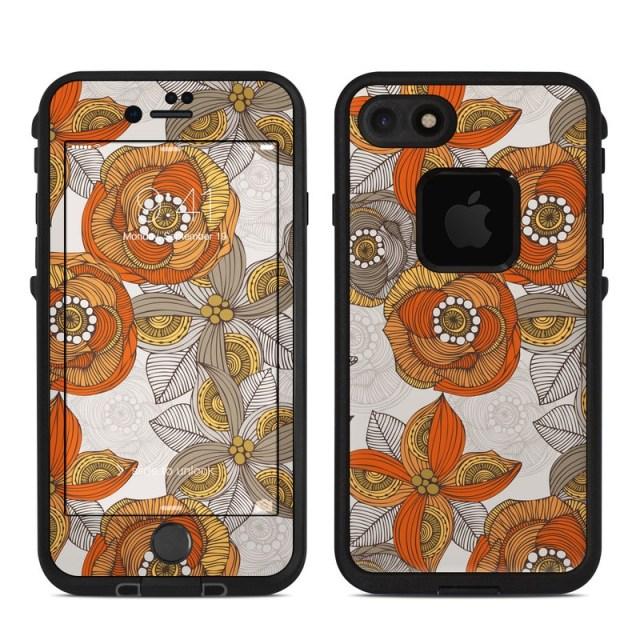 Lifeproof Iphone 7 8 Fre Case Skin Orange And Grey Flowers