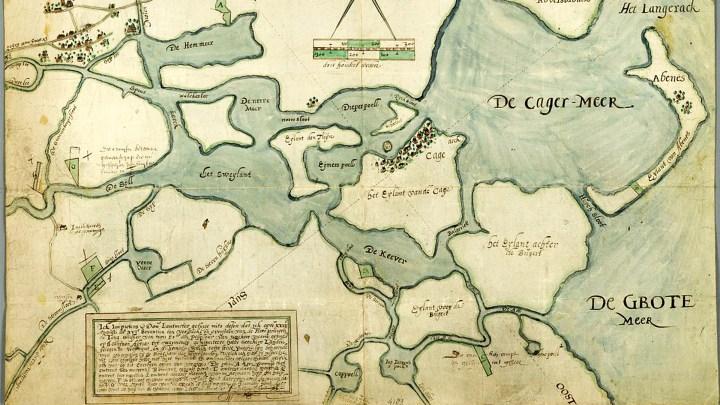 De Kagerplassen op een kaart uit 1617. De plas 't Joppe staat er nog niet op, die ontstond pas in de jaren zeventig door zandafgraving - De Canicula