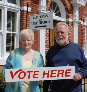 Chief Election Official Doris White and Charlie Laing.